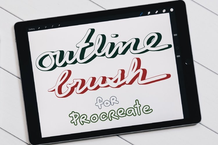Procreate Brush, Outline Brushes, Lettering brushes example image 1