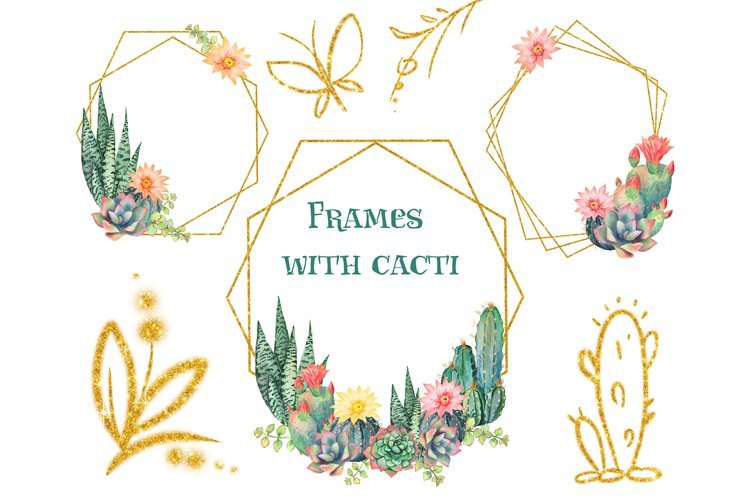 Floral gold frames. Cacti. Watercolor flowers. Cactus example image 1
