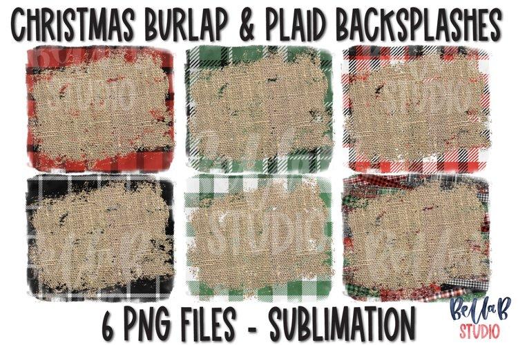Christmas Plaid Burlap Sublimation Background Bundle example image 1