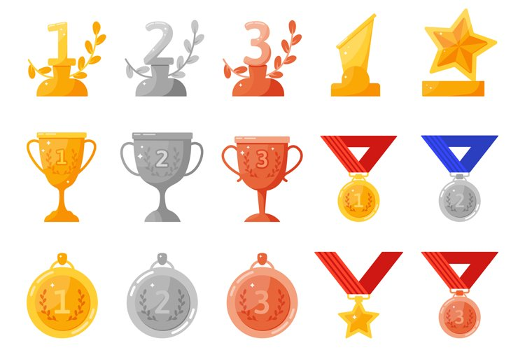 Trophy medals and cups. Gold, silver, bronze rewards, compet example image 1
