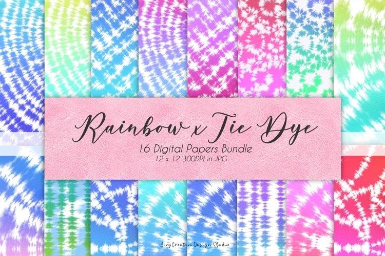 16 Colorful Rainbow x Tie Dye Digital Paper Set example image 1