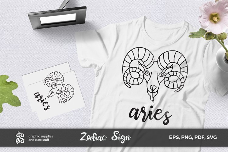 Zodiac Sign SVG Cut Files- Aries example image 1