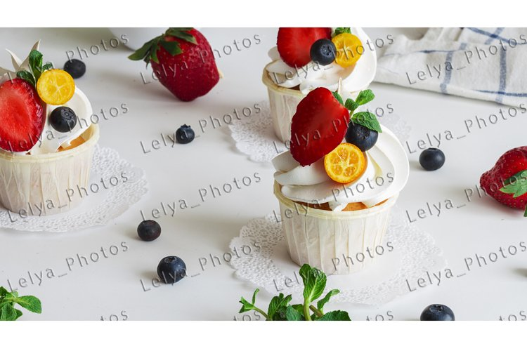 Cupcakes with fruits in the morning for breakfast.