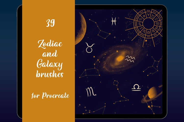 Zodiac Constellations stamp brushes for Procreate, Galaxy