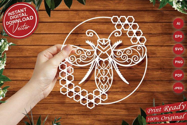 Honeycomb Bee Paper Cut Design - SVG Cut Files