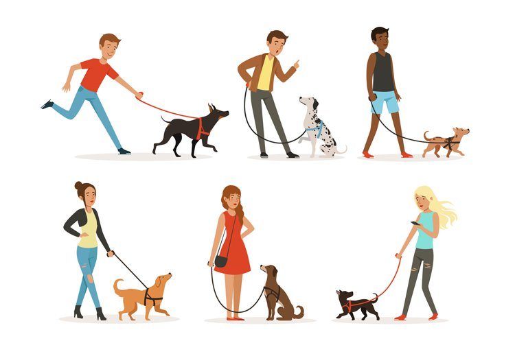 Animal friendship. Happy people walking with funny dogs. Ill example image 1