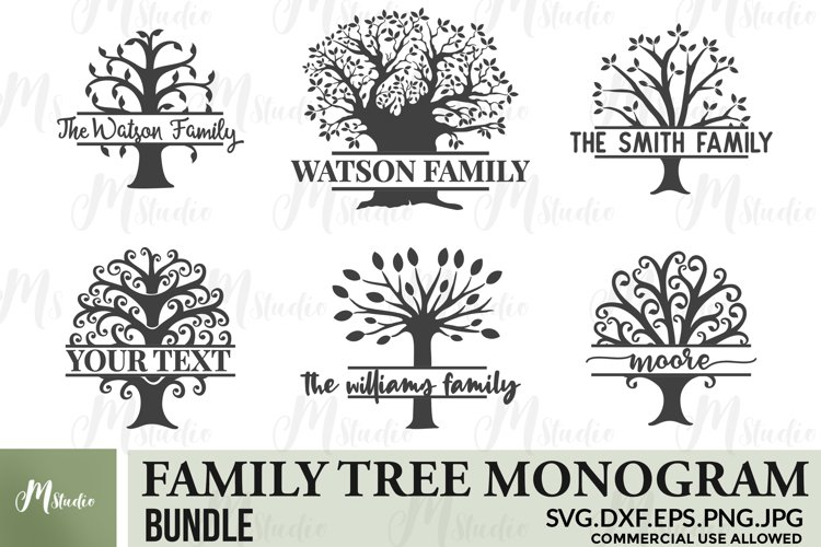Family Tree Monogram bundle SVG .
