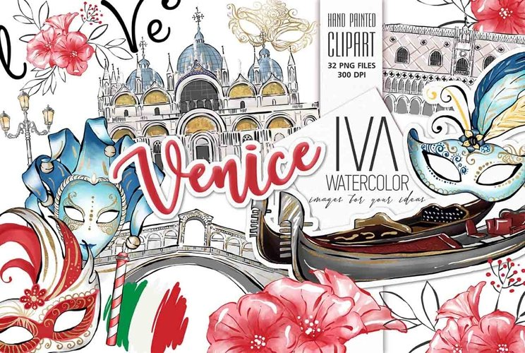 Venice Clipart, Valentine day Clipart Italy Clipart example image 1