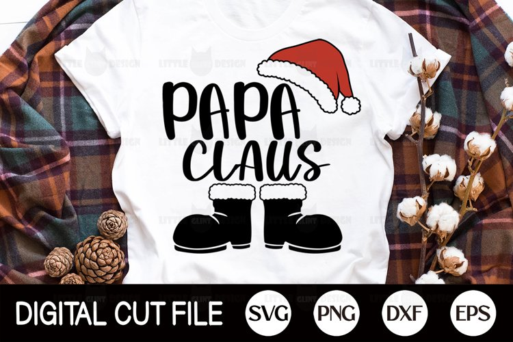 Merry Christmas PNG, Papa Claus Svg, Christmas Ornament DXF example image 1