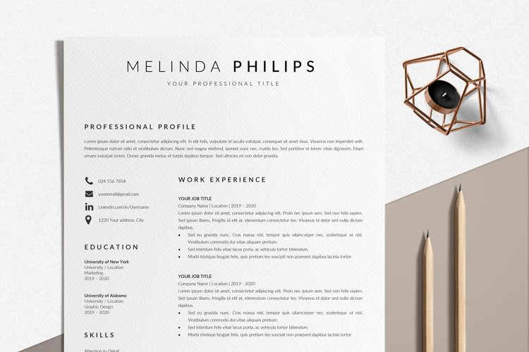 Professional CV Template Word   Resume Template Minimalist