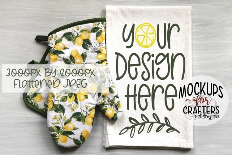 Kitchen Towel, Dish Towel MOCK-UP, Lemons theme