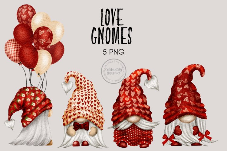 Love Heart Gnome Valentines Clipart example image 1