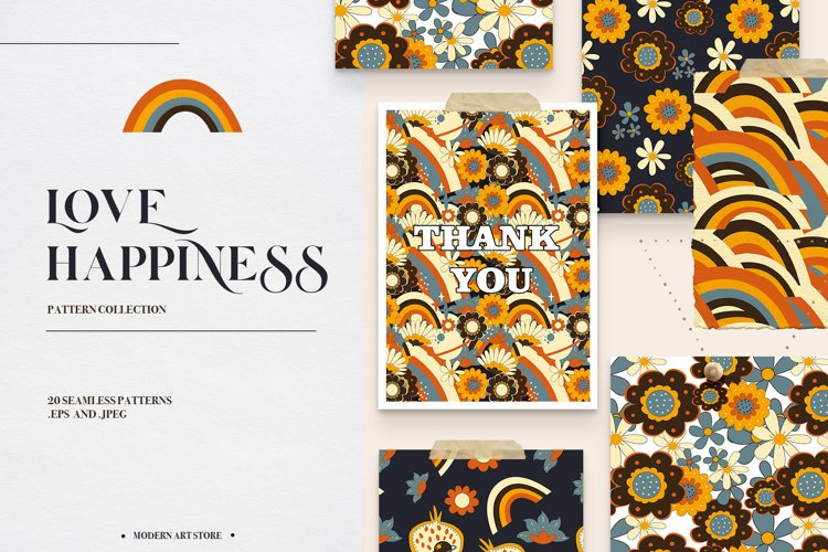 LOVE HAPPINESS. Hippie patterns, vector posters, floral
