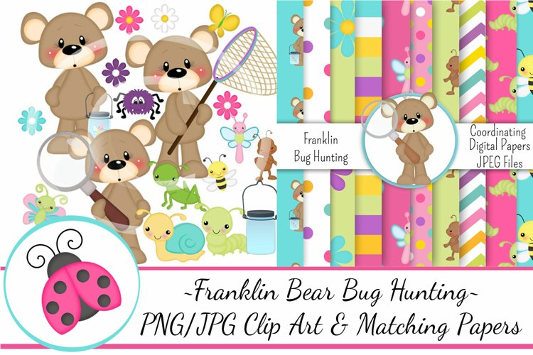 Franklin Bear Bug Hunting Clip Art   Matching Papers