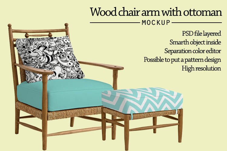 Wood chair and ottoman Mockup