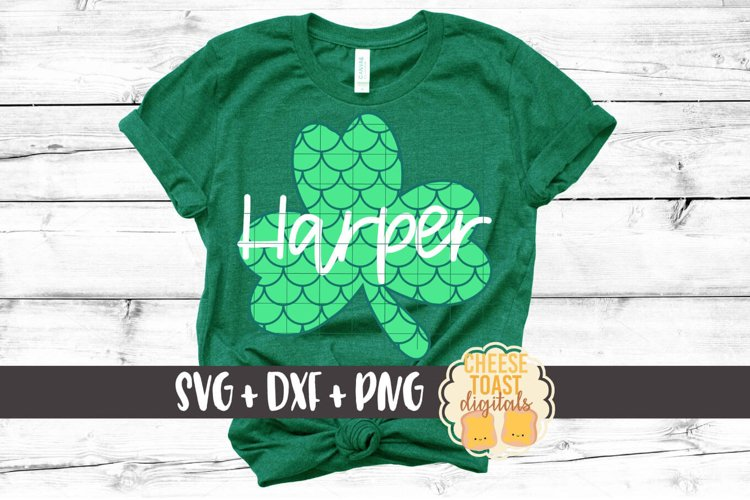 Mermaid Scales Shamrock - St Patrick's Day SVG PNG DXF Files example image 1