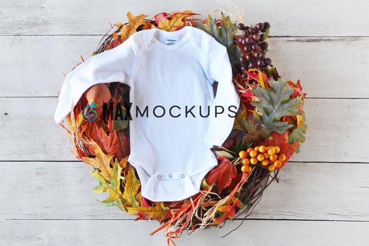 Baby bodysuit Mockup, Fall Halloween wreath, flatlay stock