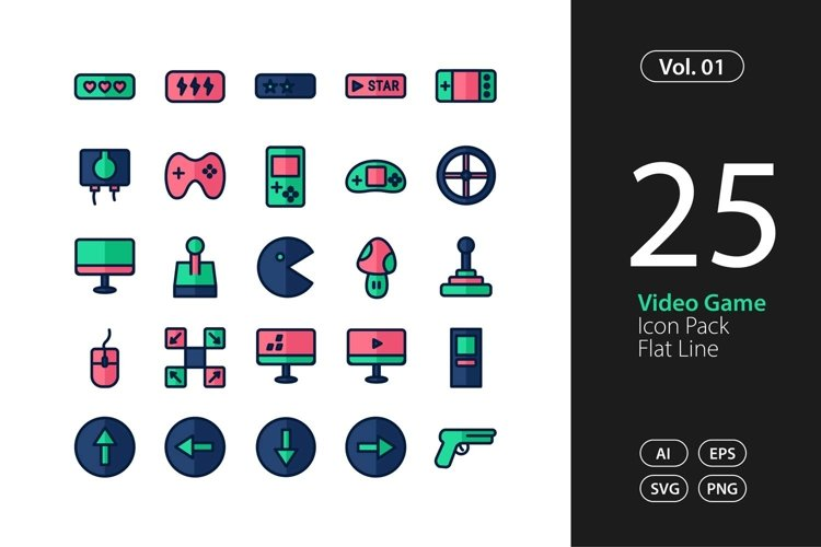 Video Game Icon Flat Line SVG, EPS, PNG example image 1