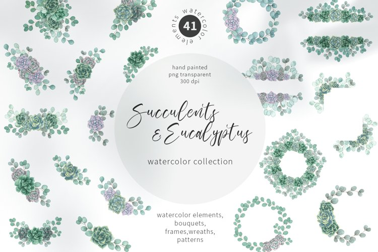 Watercolor Succulents and Eucalyptus greenery collection