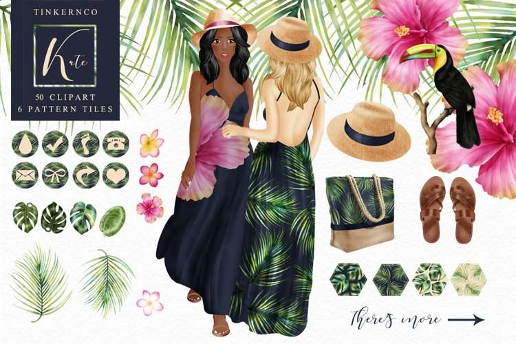Tropical Travel Fashion Girl for bloggers and planners example image 1