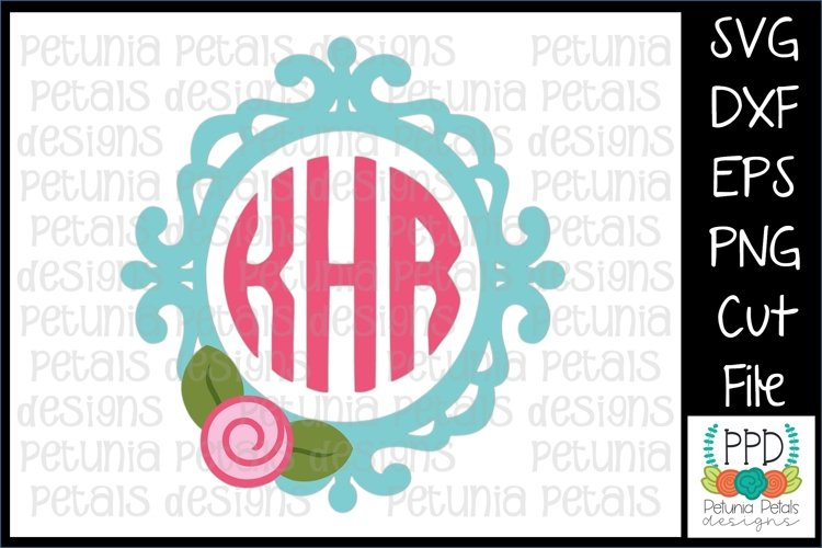 Flower Frame Monogram SVG 11260 example image 1