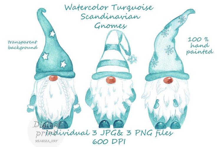 Watercolor Scandinavian turquoise gnome clipart