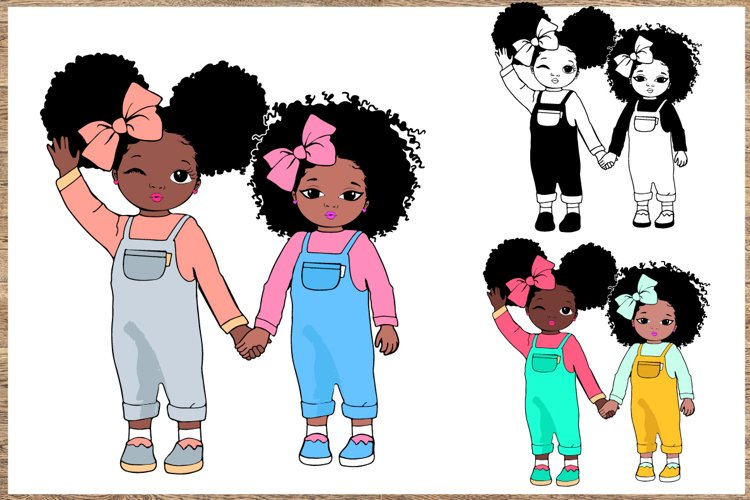 Peekaboo girl with puff afro ponytails svg, Cute black example image 1