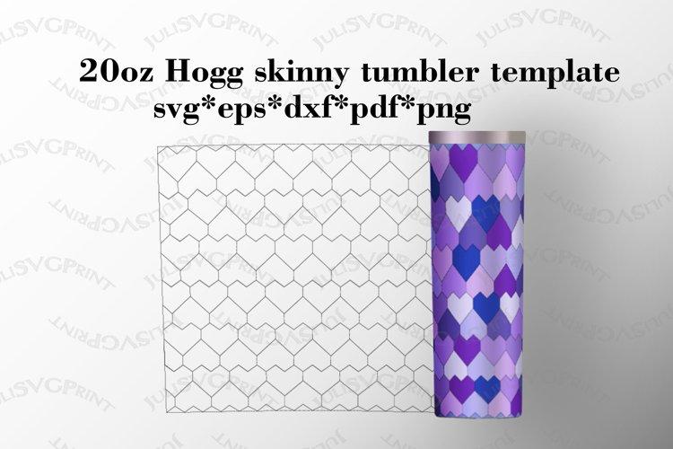 Hearts 20 oz Hogg skinny tumbler template, Tangram svg