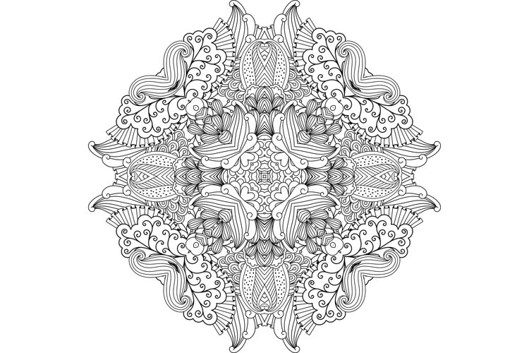 Pretty colorless circular design with vines example image 1