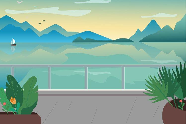 Seaside resort street flat color vector illustration example image 1