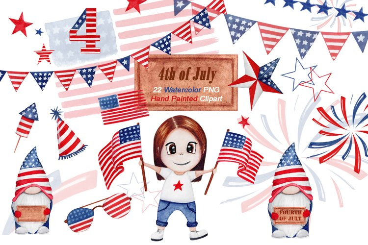 Watercolor 4th of july clipart, Cute July 4th Clipart example image 1