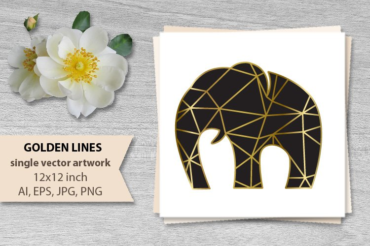 GOLDEN LINES ELEPHANT- single vector artwork example image 1