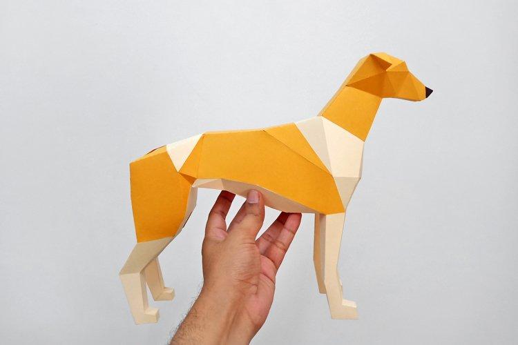 DIY Papercraft Greyhound dog sculpture,Papercraft templates example image 1