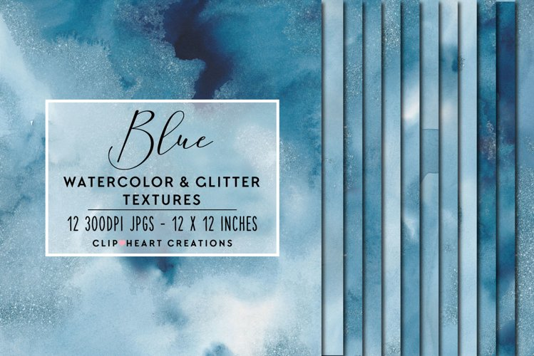 Blue Glitter Watercolor Digital Papers example image 1