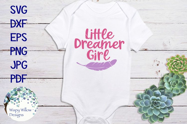 Little Dreamer Girl   Baby SVG Cut File example image 1