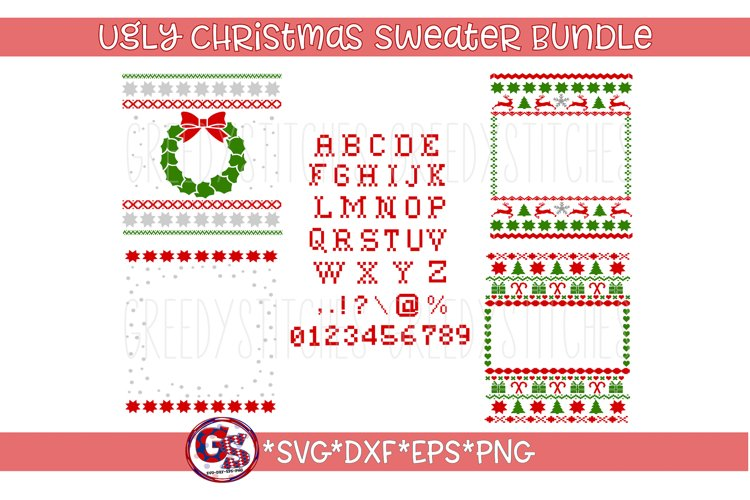 Ugly Christmas Sweater Template Bundle SVG, DXF, EPS example image 1