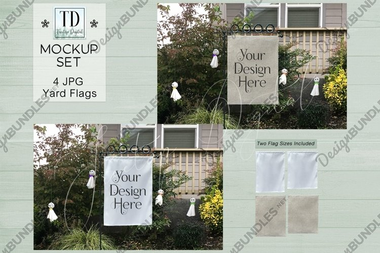 Yard Flag Mockups for Halloween, White & Burlap Flag Mock-Up example image 1
