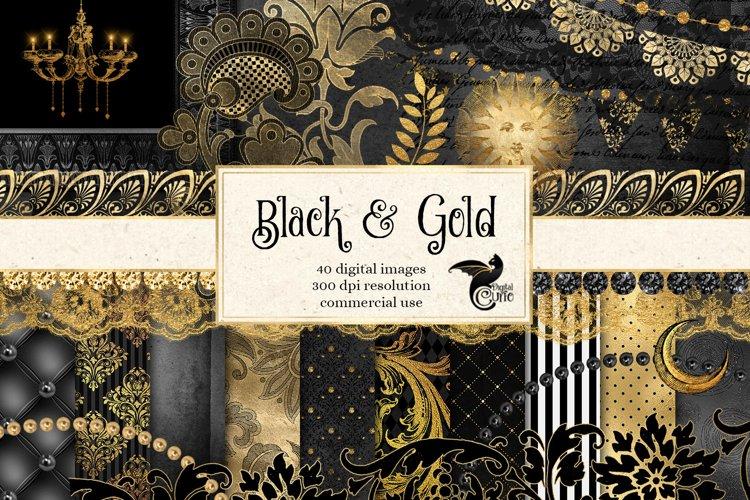 Black and Gold Digital Scrapbooking Kit example image 1