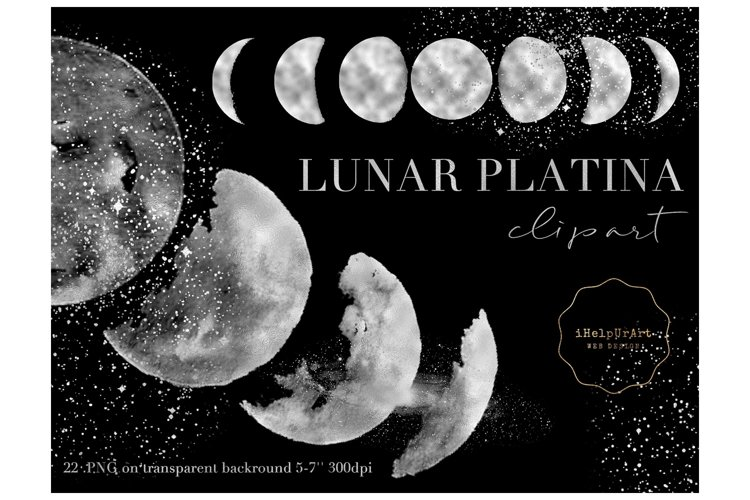 Moons Clipart - Silver Moon Phases example image 1