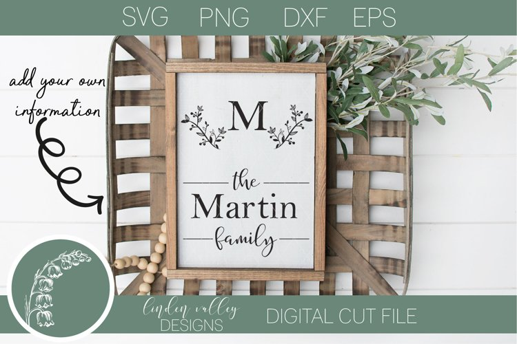 Floral Swag Family Name Sign SVG|Last Name SVG|Family SVG example image 1