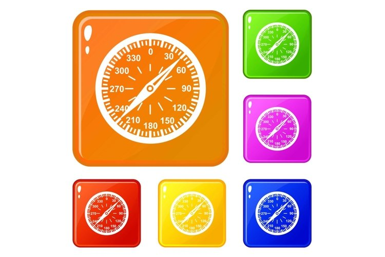 Compass icons set vector color example image 1