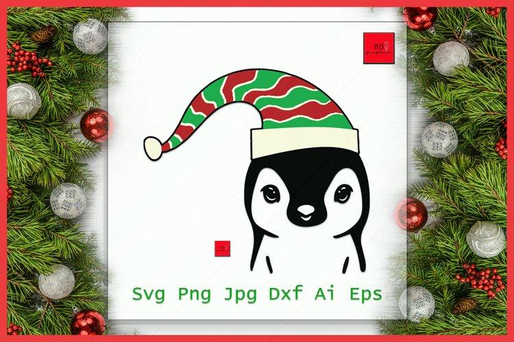 Penguin Elf hat svg, Penguin with Hat svg, Christmas svg example image 1
