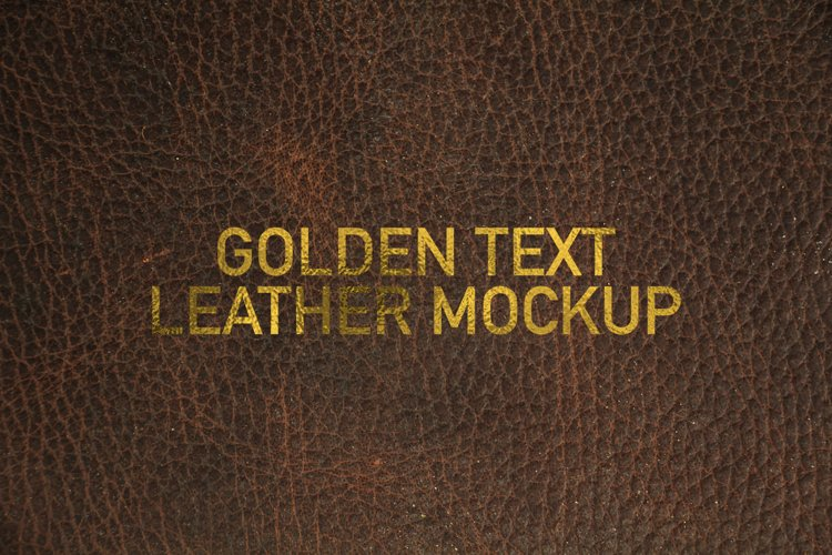 Golden Text Leather Logo Mockup example image 1