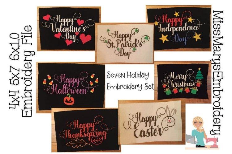 Happy Holiday Embroidery Bundle | Embroidery Bundle example image 1