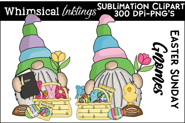Easter Sunday Gnomes Sublimation Clipart example image 1