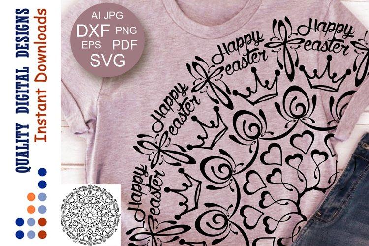 Mandala Happy Easter Crowns Eggs clip art Svg for Cricut