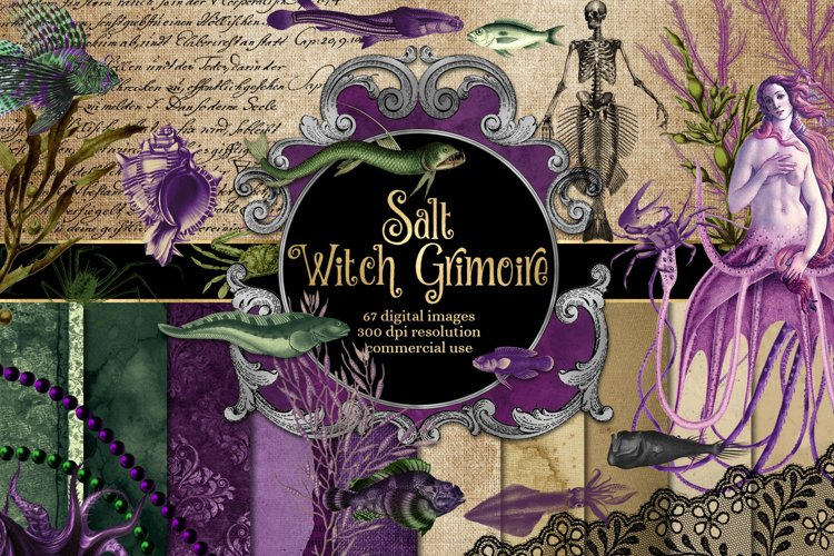 Salt Witch Grimoire Digital Scrapooking Kit