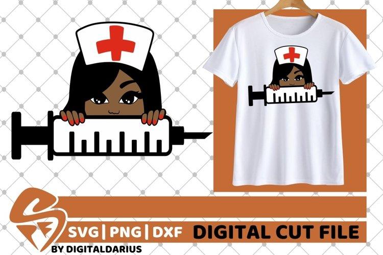Black Nurse svg, Stethoscope svg, Peeking girl svg, Melanin example image 1