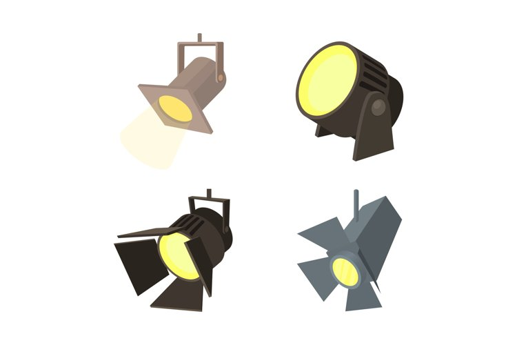Spotlight icon set, cartoon style example image 1