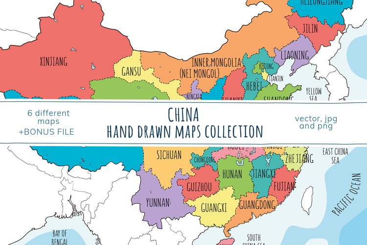 Maps of China. Hand drawn collection